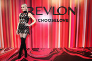 Gwen Stefani was cool and sexy, as always, in a multi-cutout mini dress by David Koma at the Choose Love Valentine's Day event.