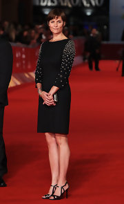 Carey Lowell looked sweet in a bejeweled LBD at the Rome Film Festival.
