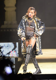 Rihanna rocked a patterned and embellished jacket while performing at the Staples Center in LA.