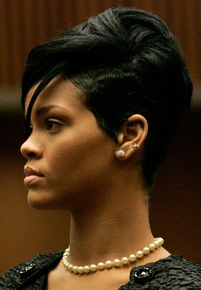 Rihanna Fauxhawk [hair,hairstyle,chin,eyebrow,black hair,beauty,forehead,crop,ear,chris brown,rihanna,court appearance,bail,los angeles,california,superior court of los angeles county,hearing,trial,party]