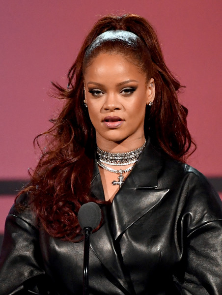 Rihanna Half Up Half Down [hair,hairstyle,fashion,beauty,eyebrow,lady,leather,lip,fashion model,long hair,rihanna,bet awards,los angeles,california,show]