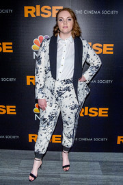 Shannon Purser finished off her ensemble with black ankle-strap heels by Aldo.