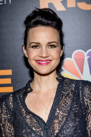 Carla Gugino styled her hair into a pompadour ponytail for the New York premiere of 'Rise.'