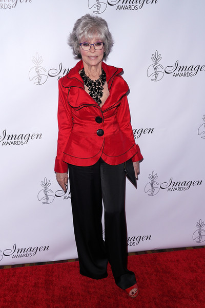 Rita Moreno Fitted Jacket [red,clothing,suit,carpet,fashion,pantsuit,formal wear,outerwear,red carpet,flooring,arrivals,rita moreno,imagen awards,los angeles,jw marriott,california,l.a. live,annual imagen awards]