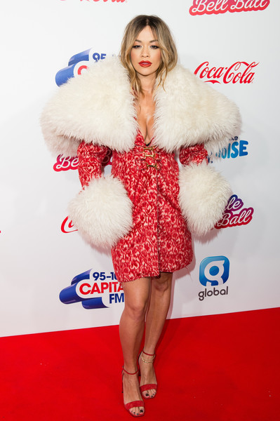 Rita Ora Evening Coat [clothing,fur,fur clothing,cocktail dress,event,long hair,carpet,premiere,flooring,rita ora,capital,england,london,the o2 arena,coca-cola,capital fm,jingle bell ball]