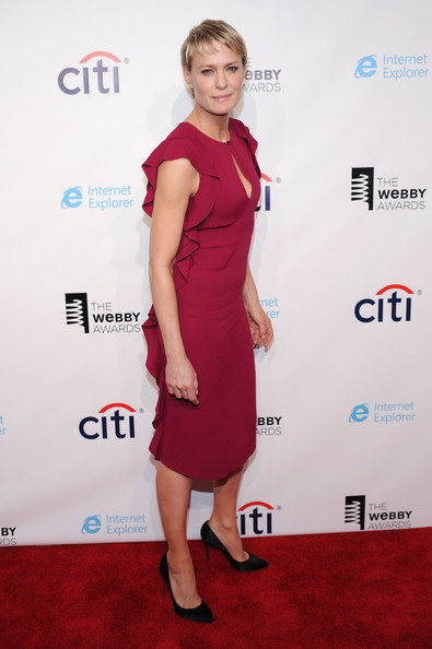 Robin Wright Cocktail Dress [dress,clothing,cocktail dress,red carpet,red,carpet,shoulder,premiere,hairstyle,fashion,new york city,cipriani wall street,17th annual webby awards,robin wright,arrivals]