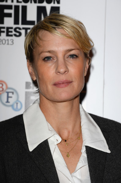 Robin Wright Short Side Part [the congress,hair,hairstyle,eyebrow,blond,chin,white-collar worker,forehead,official,suit,premiere,red carpet arrivals,robin wright,odeon west end,london,england,bfi london film festival,screening]