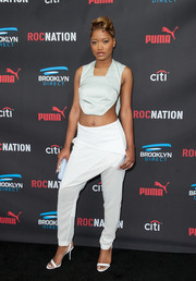 Keke Palmer teamed her sexy top with funky white harem pants by Dion Lee.