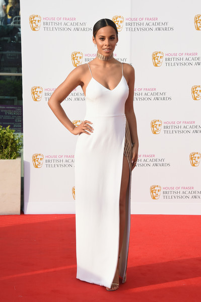 Rochelle Humes Evening Dress [dress,clothing,red carpet,white,shoulder,carpet,gown,fashion model,fashion,flooring,rochelle humes,england,london,royal festival hall,house of fraser,british academy television awards]