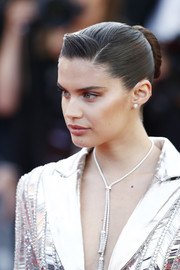 Sara Sampaio styled her hair into a sleek bun for the 2019 Cannes Film Festival screening of 'Rocketman.'