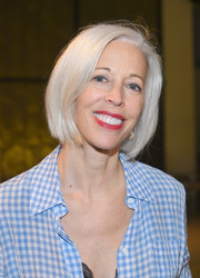 Linda Fargo looked cool with her silver bob at the Rodarte fashion show.