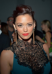 Jessica Sutta pulled her hair in a messy updo at the Rolling Stone Mag event.