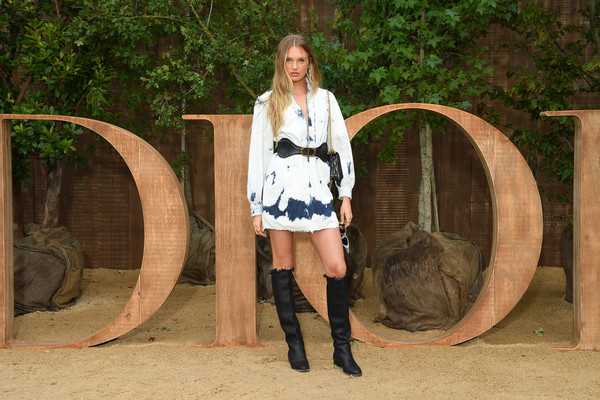 Romee Strijd Knee High Boots [lady,beauty,fashion,leg,footwear,blond,boot,long hair,tree,cowboy boot,christian dior,part,summer 2020,paris,france,christian dior womenswear spring,romee strijd,photocall - paris fashion week,show,paris fashion week]