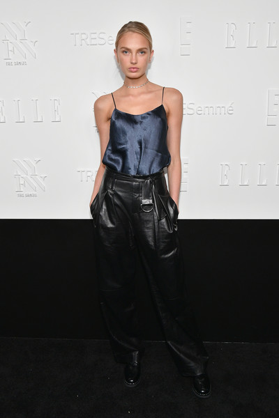 Romee Strijd Camisole [fashion model,flooring,fashion,fashion show,shoulder,model,fashion design,runway,catwalk,carpet,host,style,model,elle,e,tresemme - arrivals,nyfw kickoff party,romee strijd,celebration,a celebration of personal style]
