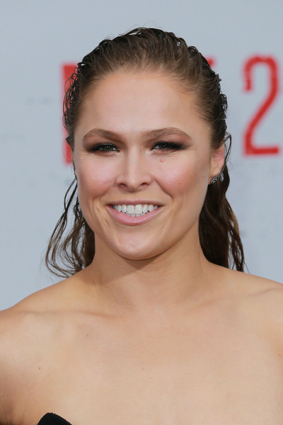 Ronda Rousey Half Up Half Down [stx films,premiere of stx films,hair,face,eyebrow,hairstyle,lip,chin,skin,beauty,forehead,eyelash,arrivals,ronda rousey,mile 22,california,westwood village theatre,westwood,premiere]
