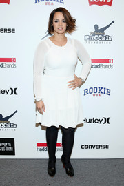 Dascha Polanco opted for a simple white mesh dress when she attended the Rookie USA Presents Kids Rock! fashion show.