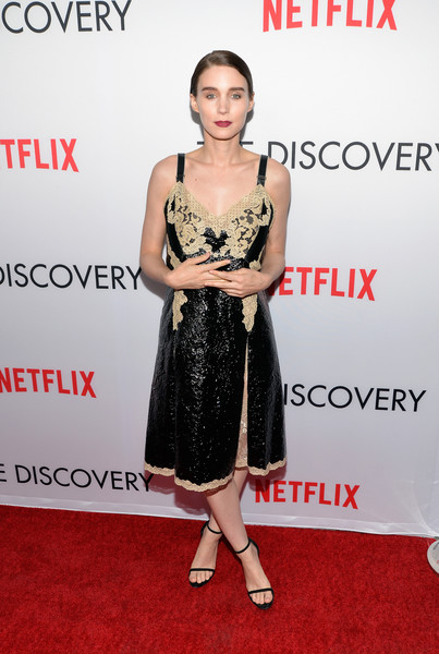 Rooney Mara Cocktail Dress [the discovery,clothing,dress,red carpet,cocktail dress,premiere,carpet,shoulder,hairstyle,fashion model,fashion,arrivals,rooney mara,california,los angeles,vista theatre,netflix,premiere,premiere]