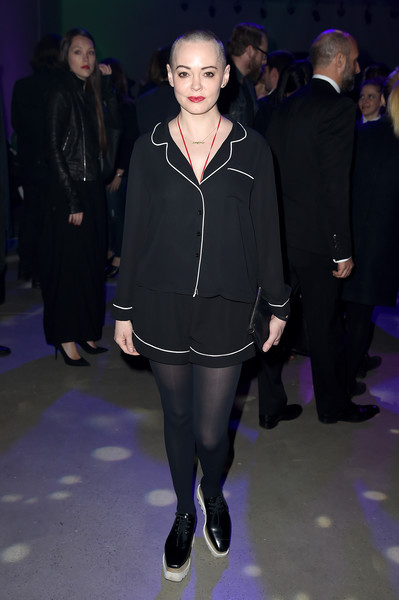 Rose McGowan Short Shorts [fashion,clothing,tights,fashion show,outerwear,event,footwear,haute couture,dress,leg,rose mcgowan,new york city,spring studios,tribeca film festival opening night party]