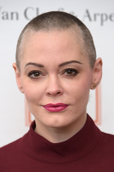 Rose McGowan Buzzcut [face,hair,eyebrow,lip,hairstyle,chin,forehead,cheek,buzz cut,skin,rose mcgowan,new york city,new york academy of art,tribeca ball 2016]