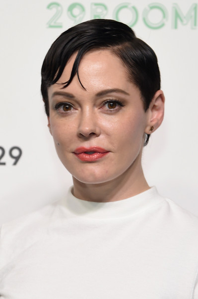 Rose McGowan Short Side Part [hair,face,eyebrow,hairstyle,lip,chin,forehead,skin,cheek,head,rose mcgowan,culture,style,presentation,style,refinery29 presents 29rooms,brooklyn,refinery29,celebration,celebration]