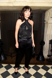 Rosetta Getty donned a black crossover halter top for her Spring 2017 collection party.