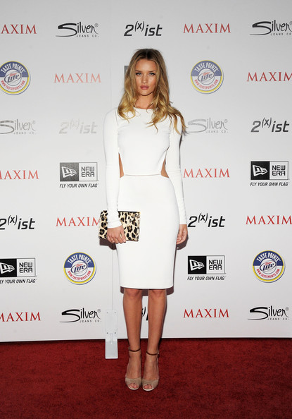 Rosie Huntington-Whiteley Cutout Dress [miller lite,white,footwear,flooring,fashion model,joint,shoulder,cocktail dress,carpet,fashion,dress,silver jeans co,arrivals,rosie huntington-whiteley,ist,eden,california,hollywood,new era,maxim hot 100 party]