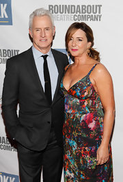 Talia Balsam looked sexy in a plunging neckline print dress at the Roundabout Theatre Company's Spring Gala.