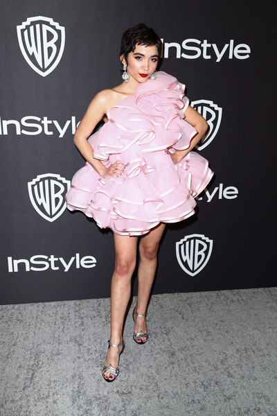 Rowan Blanchard Evening Sandals [fashion model,flooring,cocktail dress,shoulder,joint,fashion,catwalk,leg,fashion show,carpet,rowan blanchard,beverly hills,california,the beverly hilton hotel,instyle,golden globes,warner bros.,arrivals,party]