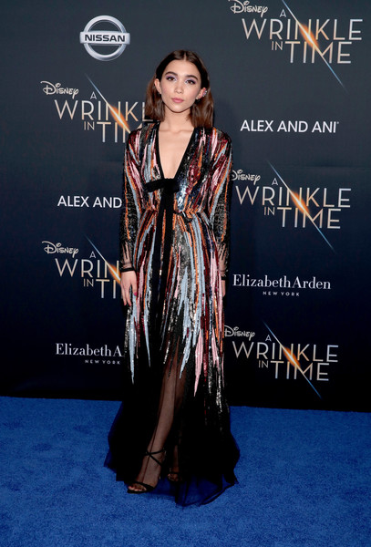 Rowan Blanchard Strappy Sandals [a wrinkle in time,red carpet,clothing,carpet,premiere,dress,formal wear,fashion,flooring,event,fashion design,arrivals,rowan blanchard,california,los angeles,el capitan theatre,disney,premiere,premiere]