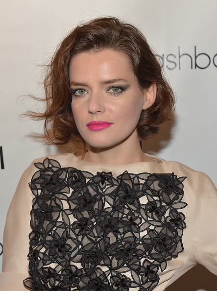 Roxane Mesquida Curled Out Bob [hair,hairstyle,face,lip,eyebrow,shoulder,beauty,fashion,brown hair,long hair,nylon,roxanne mesquida,onitsuka tiger celebrate the annual may young hollywood issue,hollywood,california,the roosevelt hotel,party]