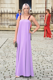 Amber Le Bon rocked a loose lilac maxi dress with striped shoulder straps at the Royal Academy of Arts Summer Exhibition.