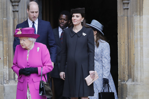 Kate Middleton kept it simple in a black Catherine Walker coat during Easter service.