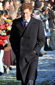 Prince Harry wore a double-breasted wool coat with a pea coat influence for Christmas Day.