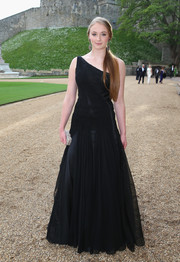 Sophie Turner channeled her inner princess in a black one-shoulder gown by Ralph Lauren during the Royal Marsden celebration.