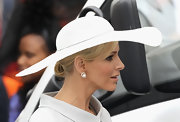 Charlene Wittstock accented her dove gray suit with any an icy white large-brimmed hat at the wedding of Prince William and Kate Middleton.