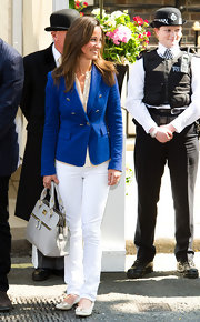 Pippa Middleton carried a refined pale gray leather Bristol Grab tote with her fresh day time look.