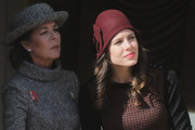 Charlotte Casiraghi went vintage-chic in a maroon cloche during Monaco's National Day.