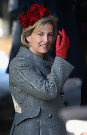 Sophie Countess of Wessex's red glove tied together the red flower on her hat and added a pop of color.