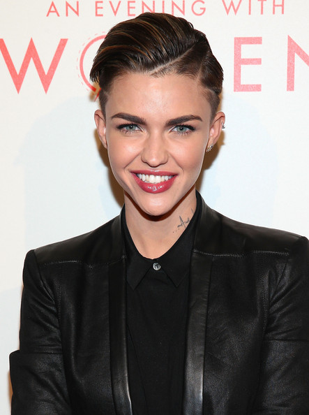 Ruby Rose Fauxhawk [hair,hairstyle,eyebrow,lip,skin,beauty,forehead,black hair,blond,quiff,ruby rose,arrivals,hair,hair,hairstyle,model,celebrity,pixie cut,l.a. gay lesbian center,an evening with women,ruby rose,orange is the new black,hairstyle,stella carlin,celebrity,pixie cut,hair,model,short hair]