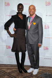 Alek Wek donned a classic black blouse for the Rush HeARTS Education Luncheon.