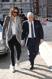 Russell Brand opted for a gray snakeskin print scarf to top off his rocker-look while out in London.