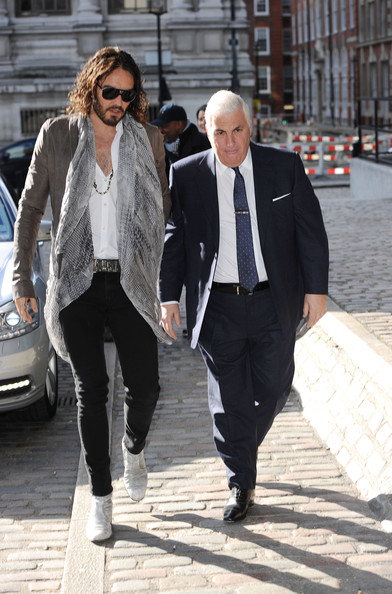 Russell Brand Skinny Pants [street fashion,photograph,clothing,suit,fashion,snapshot,blazer,outerwear,footwear,jeans,russell brand,mitch winehouse,photocall,amy winehouse foundation resilience programme,programme,amy winehouse foundation drugs resilience,uk,queen elizabeth ii conference centre,mitch winehouse launch,schools]