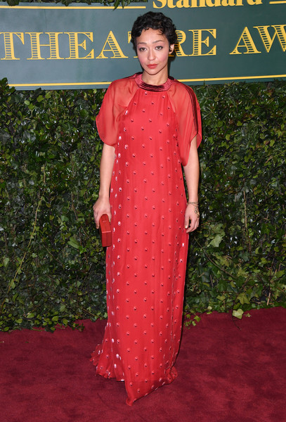 Ruth Negga Evening Dress [clothing,red carpet,carpet,dress,formal wear,flooring,premiere,fashion design,pattern,red carpet arrivals,ruth negga,london evening standard theatre awards,london,england,theatre royal]