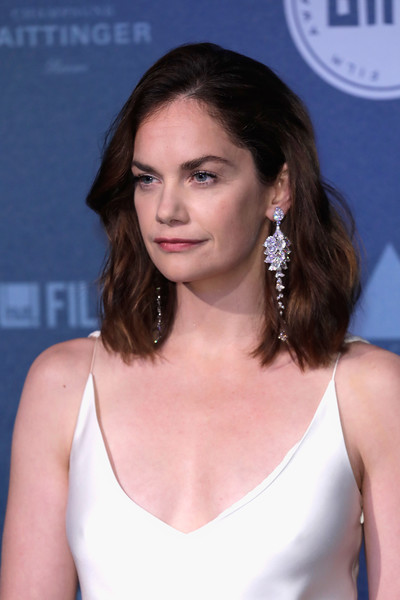 Ruth Wilson Diamond Chandelier Earrings [hair,hairstyle,eyebrow,beauty,brown hair,chin,shoulder,long hair,lip,premiere,red carpet arrivals,ruth wilson,british independent film awards,london,england,old billingsgate]