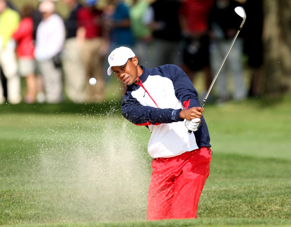 Tiger Woods sported this patriotic zip-up during the 2013 Ryder cup.