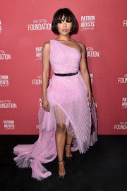 Kat Graham went ultra feminine in a flowing pink one-shoulder gown by Ermanno Scervino at the Patron of the Artists Awards.