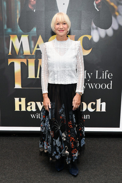 Helen Mirren attended SAG-AFTRA Foundation's The Business wearing a long-sleeve white lace blouse.