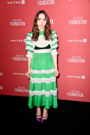 Zoe Kazan went for a vintage feel in a green and white lace-panel midi dress by Valentino at the SAG-AFTRA Foundation Patron of the Artists Awards.