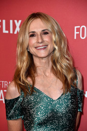 Holly Hunter attended the SAG-AFTRA Foundation Patron of the Artists Awards wearing her hair in poofy waves.