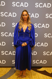 Leona Lewis styled her dress with silver ankle-strap sandals by Casadei.